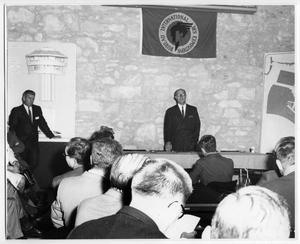 Primary view of object titled 'Marshall T. Steves, Sr. addressing BIE Group'.