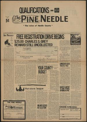 Primary view of object titled 'The Pine Needle (Kountze, Tex.), Vol. 3, No. 8, Ed. 1 Thursday, March 3, 1966'.