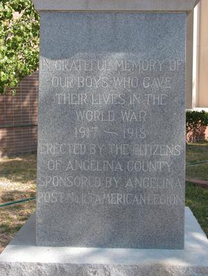 Angelina County WW I. Memorial