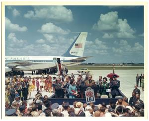 Primary view of object titled 'President Lyndon B. Johnson speaking to a crowd at Randolph Air Force Base'.