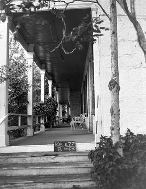 Primary view of object titled '[Kendall Inn, (East elevation (detail of porch))]'.