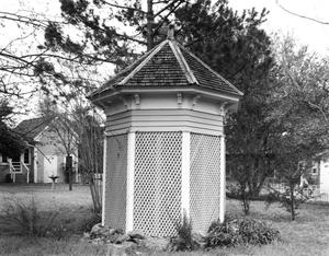 Primary view of object titled '[Matthew Cartwright House, (Oblique of gazebo)]'.