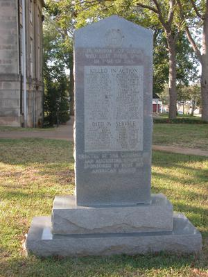 Primary view of object titled 'Veterans Memorial, San Augustine County'.