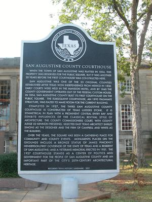 Primary view of object titled 'Historic Plaque, San Augustine County Courthouse'.