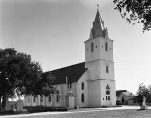 Primary view of object titled '[Immaculate Conception Church, (Oblique of West corner)]'.