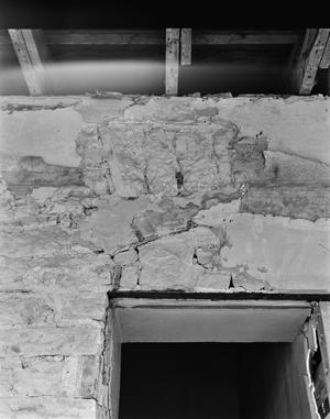 Primary view of object titled '[Carrington-Covert House, (South window detail showing additions (Room 211), Exterior view (from porch looking North))]'.