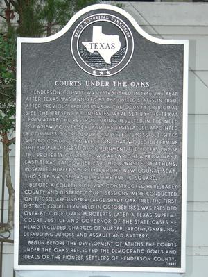 Primary view of object titled 'Historic Plaque, Courts Under the Oaks'.