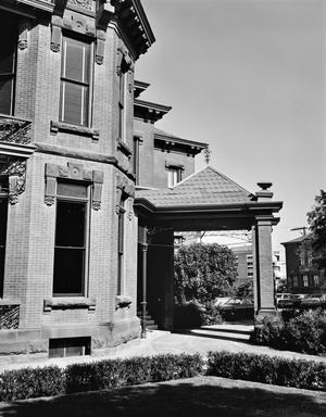 Primary view of object titled '[Littlefield House, (Porte. Cochere- South elevation)]'.