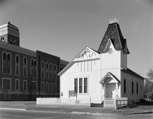 Primary view of object titled '[Original First Baptist Church, (Exterior)]'.