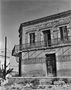 Primary view of object titled '[M. Guerra Building, (Detail: Southwest corner)]'.