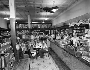 Primary view of object titled '[Sanders Drug Store, (Interior looking West)]'.