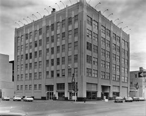 Primary view of object titled '[West Texas Utilities Office Building, (Facade and side elevation)]'.