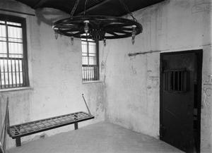 Primary view of object titled '[County Jail, (Interior of second story, east room)]'.