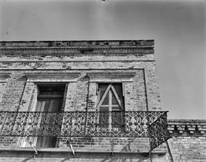 Primary view of object titled '[M. Guerra Building, (Detail: South side)]'.
