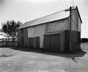 Primary view of object titled '[Christian Kothe House, (Northeast oblique of barn)]'.