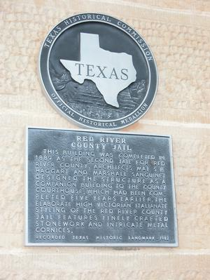 Primary view of object titled 'Historic plaque - Red River County Jail'.