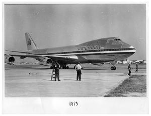 Primary view of object titled '[American Airlines Astroliner at Love Field]'.