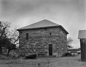 Primary view of object titled '[Old Taylor County Courthouse and Jail, (Northeast oblique)]'.