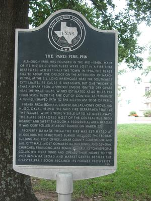 Primary view of object titled 'Historic plaque - The Paris Fire, 1916'.