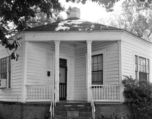 Primary view of object titled '[Chambers Octagon House, (Detail of front porch)]'.