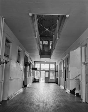 Primary view of object titled '[Livestock Exchange, (Hall (First floor), West wing, looking South)]'.
