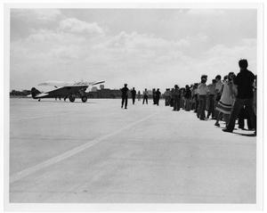 Primary view of object titled '[Lindbergh Flight Reenactment : Crowd Near Aircraft]'.