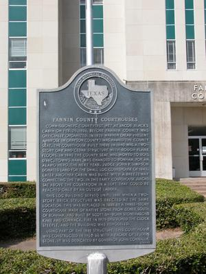 Historic plaque - Fannin County Courthouses