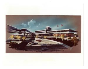 Primary view of object titled '[Dallas Love Field Airport : Terminal and Skybridge]'.