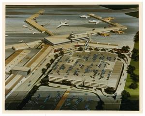 Primary view of object titled '[Dallas Love Field Airport : Architectural Rendering]'.