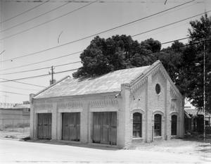 Primary view of object titled '[Garage, Fire House, (Southwest oblique)]'.