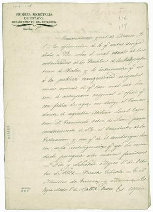 Primary view of object titled '[Vicente Filisola on the resistance of Tlalmanalco and Ameca'.