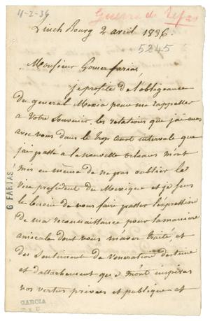 Primary view of object titled '[Letter from Baradere to Valentin Gomez Farias, April 2, 1836]'.