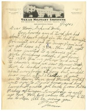 Primary view of object titled '[Letter by James Sutherlin to his parents and uncle - 05/16/1943]'.