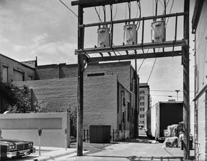 Primary view of object titled '[Rackley Building, (Alley behind building camera facing North)]'.
