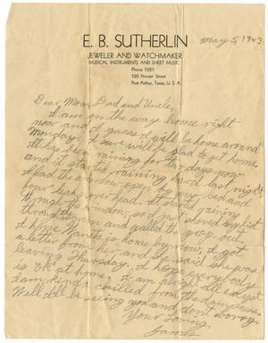 Primary view of object titled '[Letter by James Sutherlin to his parents and uncle - 05/05/1943]'.