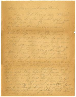 Primary view of object titled '[Letter by James Sutherlin to his parents and uncle]'.