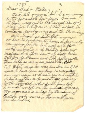 Primary view of object titled '[Letter by James Sutherlin to his parents - 02/08/1943]'.