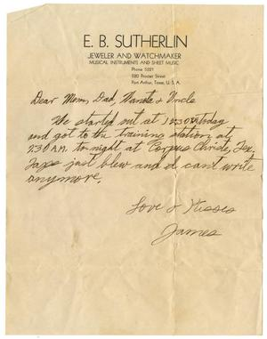 "Primary view of object titled '[Letter by James Sutherlin to his parents, ""Waneta"" and uncle - 07/21/1943]'."