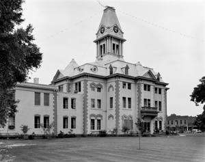 Primary view of object titled '[Newton County Courthouse, (Southeast oblique)]'.