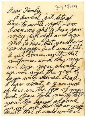 [Letter by James Sutherlin to his family - 07/15/1943]