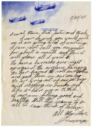 Primary view of object titled '[Letter by James Sutherlin to his family - 07/20/1943]'.