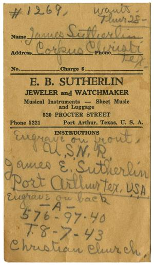 [E.B. Sutherlin Jeweler and Watchmaker Insruction Envelope]