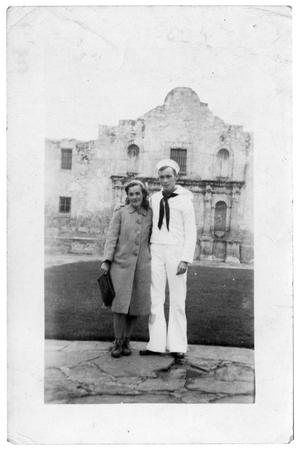 Primary view of object titled '[James and Waneta Sutherlin at the Alamo]'.