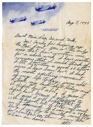 Primary view of object titled '[Letter by James Sutherlin to his family - 08/07/1943]'.