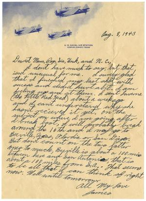 Primary view of object titled '[Letter by James Sutherlin to his family - 08/08/1943]'.