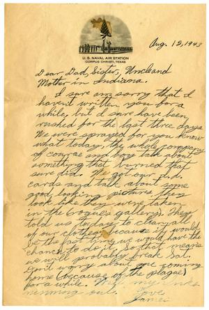 Primary view of object titled '[Letter by James Sutherlin to his family - 08/12/1943]'.
