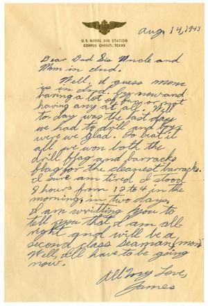 Primary view of object titled '[Letter by James Sutherlin to his family - 08/14/1943]'.