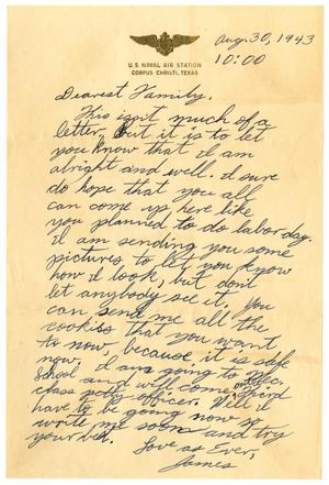 Primary view of object titled '[Letter by James Sutherlin to his family - 08/30/1943]'.