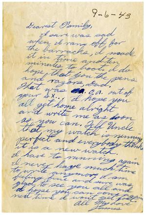 Primary view of object titled '[Letter by James Sutherlin to his family - 09/06/43]'.
