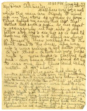 Primary view of object titled '[Letter by Edith Wilson Sutherlin to her sister - January 29, 1943]'.